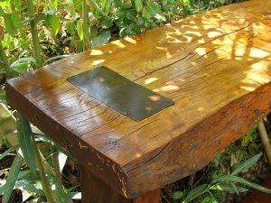 שולחן בר מעץ בוק גולמי